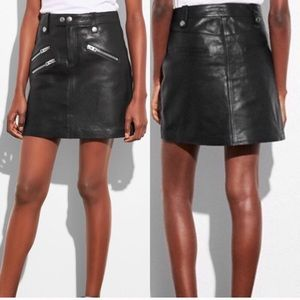 Coach Black Leather Moto Skirt